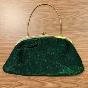 VTG Green Sparkly Clutch